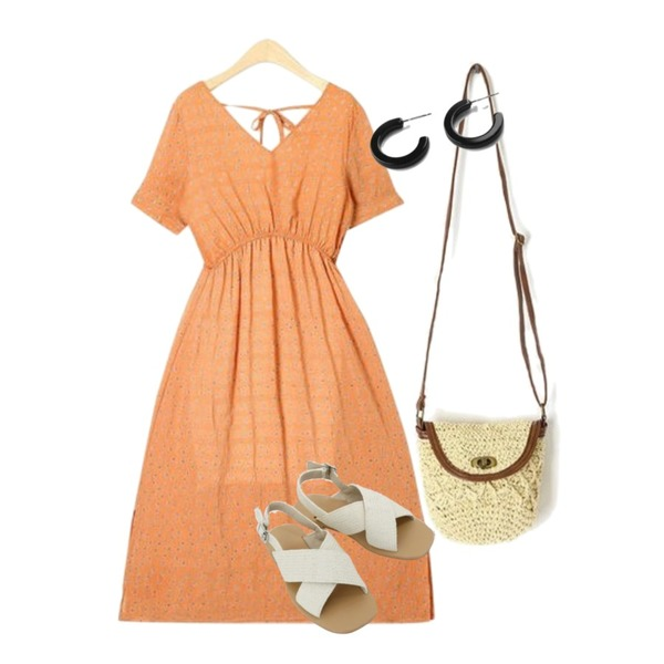 daily monday Natural cross strap sandals,AIN mini straw bag,AIN bubble lady ops등을 매치한 코디
