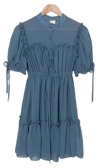 Versailles frilly shirring ribbon flare dress