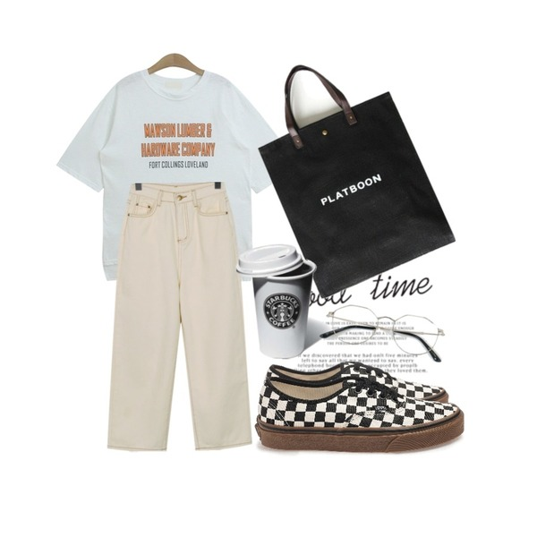 Untitled,From Beginning Easy stitch cotton pants_H (size : S,M,L),TODAY ME [tee]커터 반팔 티(코튼 언발 박시 영문 프린팅T)등을 매치한 코디