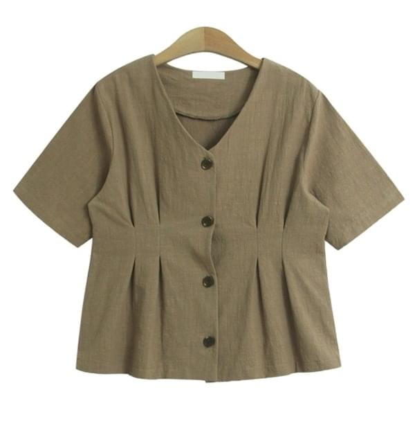 Canary Blouse (V-neck button pinch short sleeve blouse)