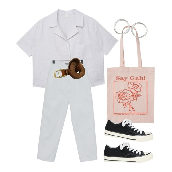 AIN corduroy line daily sneakers (230-250),From Beginning Rose frame cotton bag_H (size : one),From Beginning Simple medium earring_H (size : one)등을 매치한 코디