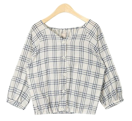 cute mini check blouse
