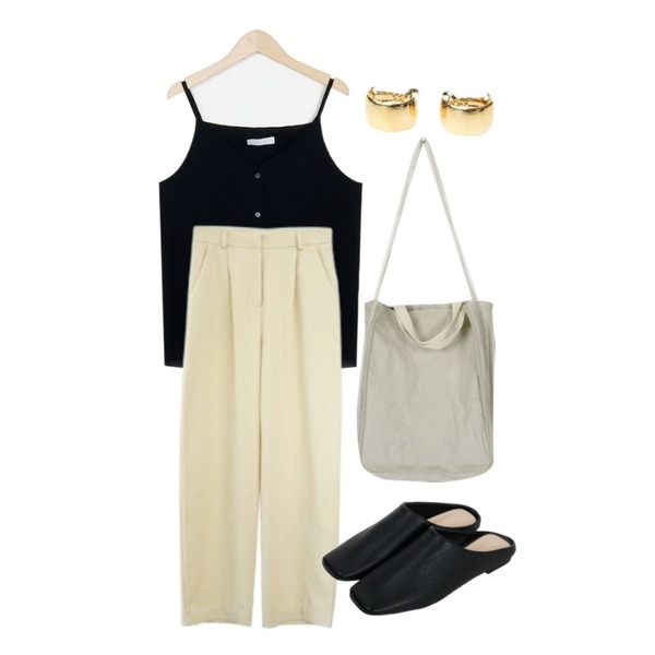 From Beginning Classy basic mule_H (size : 225,230,235,240,245,250),From Beginning Button point string sleeveless_K (size : free),AFTERMONDAY comfy cotton pants (3colors)등을 매치한 코디