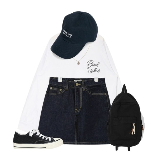AIN dos coin pendant necklace,AIN point side lettering T,AIN day A-line denim skirt (s, m, l)등을 매치한 코디