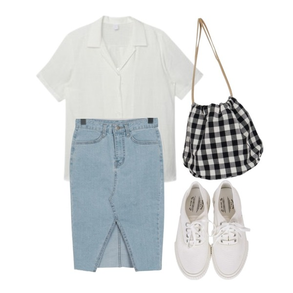 MIXXMIX Double Collar Linen Shirt,From Beginning Mode slim denim skirt_H (size : S,M,L),From Beginning Candy check bucket bag_H (size : one)등을 매치한 코디