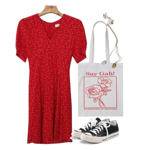 ROCOSIX simple coton sneakers,From Beginning Rose frame cotton bag_H (size : one),Zemma World Ludia-플라워원피스[size:44~날씬66 / 3color]등을 매치한 코디