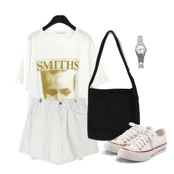 somedayif muji cross bag (3colors),GIRLS RULE 썸머 컷팅 숏 데님 (pt1430),AFTERMONDAY smiths printing T-shirt (2colors)등을 매치한 코디