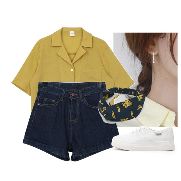 daily monday Silver clip earring(silver 925),biznshoe Half collar shirt (6color),From Beginning Camp roll-up denim shorts_M (size : S,M,L,XL)등을 매치한 코디