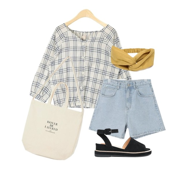 AIN joy daily eco bag,AIN cute mini check blouse,AIN SHALOM denim half pants (s, m, l)등을 매치한 코디