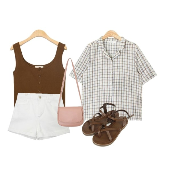AIN roll-up detail basic short pants (2 colors),AIN simple front button knit sleeveless,AIN retro linen check shirts등을 매치한 코디