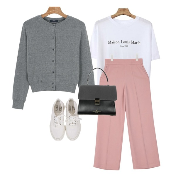 AIN western straight-fit slacks (3 colors),daily monday Daily basic cardigan,Zemma World Louis-프린팅티셔츠 [size:44~통통66 / 4color]등을 매치한 코디