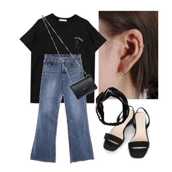 daily monday Silver essential gold ring earring(silver 925),ROCOSIX london boots-cut denim PT,biznshoe Pauser tee (3color)등을 매치한 코디