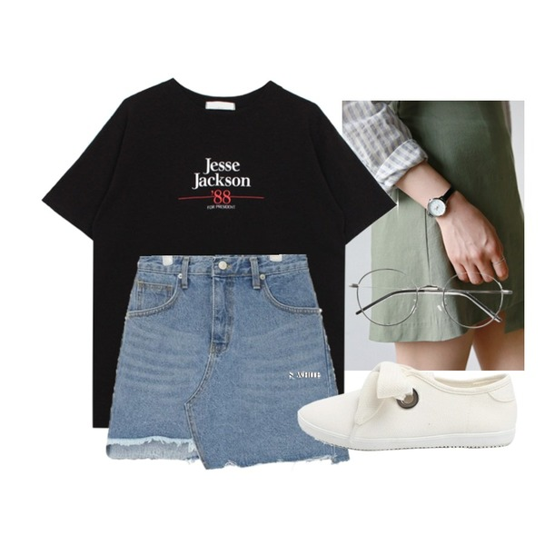 daily monday Slim leather watch,biznshoe Jesse jackson tee (3color),AIN unbalance cutting skirt (s, m)등을 매치한 코디