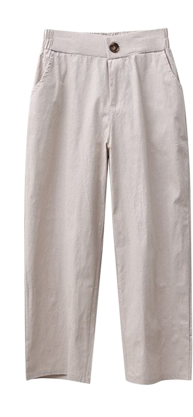 Linen Pants Banding Slacks