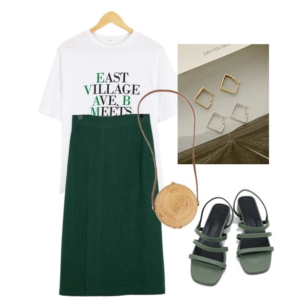 about moon east tee (3 color),From Beginning Tuck slit linen skirt_S (size : free),ROCOSIX draw tetragon earring등을 매치한 코디