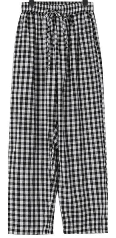 Gingham check cozy pants