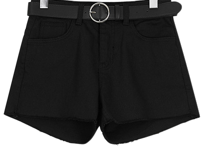 Black span short pants belt set