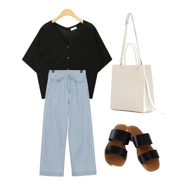 From Beginning Cold wide denim pants_S (size : S,M,L),AIN moca basic v-neck knit,From Beginning neater bag _ 18 B등을 매치한 코디