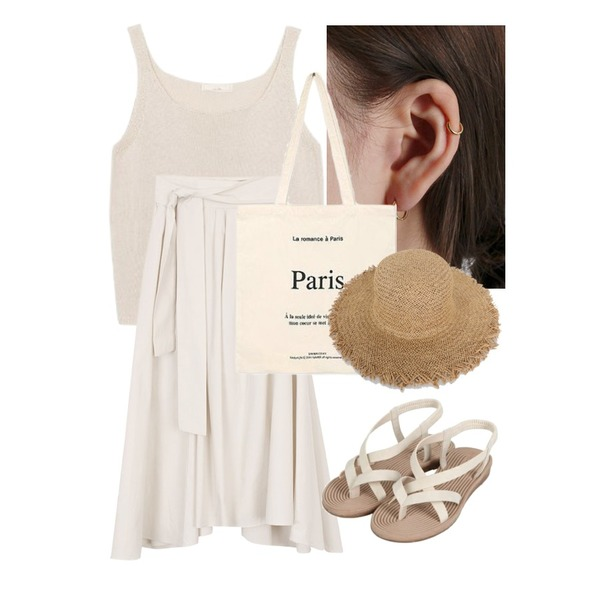 daily monday Silver essential gold ring earring(silver 925),biznshoe Square knit sleeveless (5color),biznshoe Banding strap skirts등을 매치한 코디
