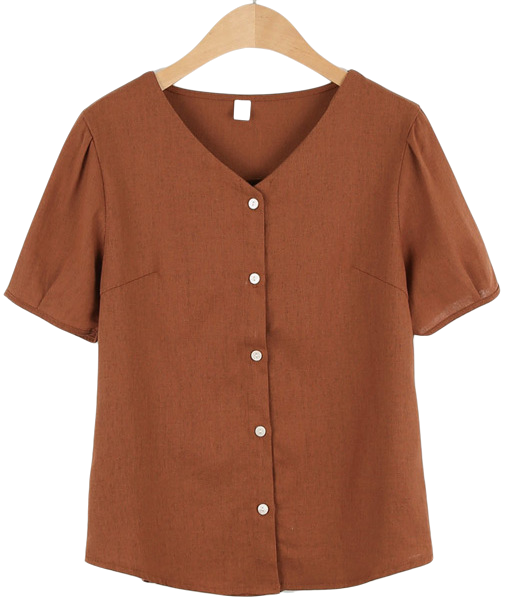 Linen V-neck short sleeve blouse
