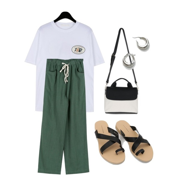 daily monday Favorite avocado tee,daily monday Vintage color banding pants,daily monday Colorful canvas tote bag등을 매치한 코디