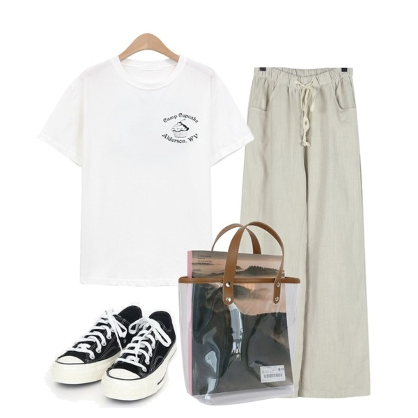 daily monday Vintage color banding pants,AIN coloring canvas sneakers (225-250),NEW NEED NOW 디저트 반팔 티셔츠(3color)등을 매치한 코디