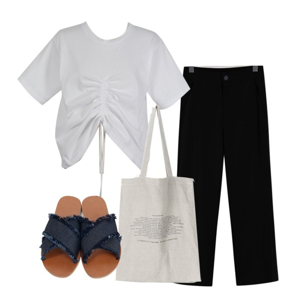 From Beginning Summer cool slacks (hidden banding)_B (size : S,M,L),daily monday Sentence linen bag,From Beginning Middle shirring cotton T_M (size : free)등을 매치한 코디