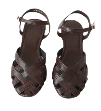 ankle strap leather sandals (3colors)