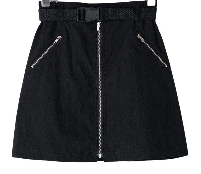 A-line zipper detail banding mini skirt