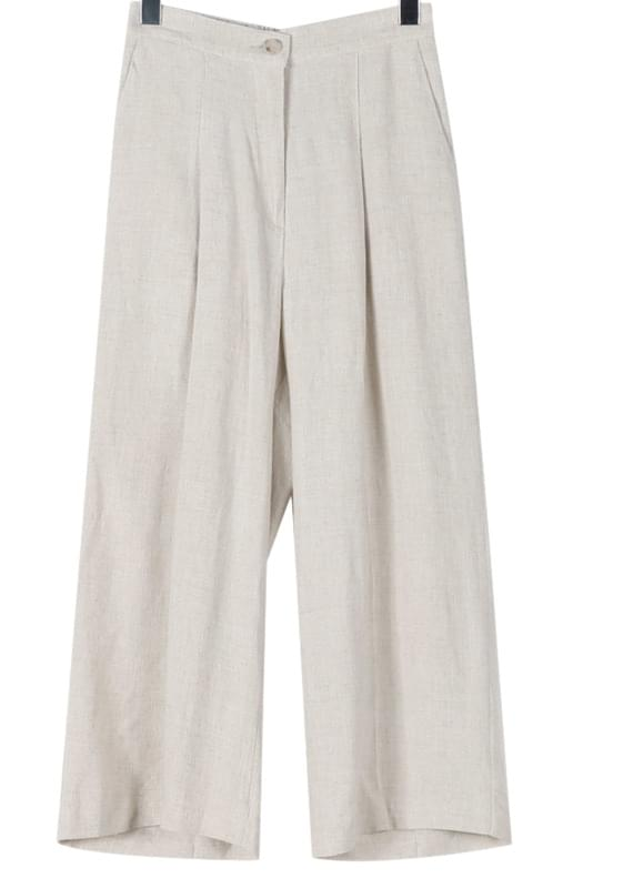 Pintuck line natural linen pants