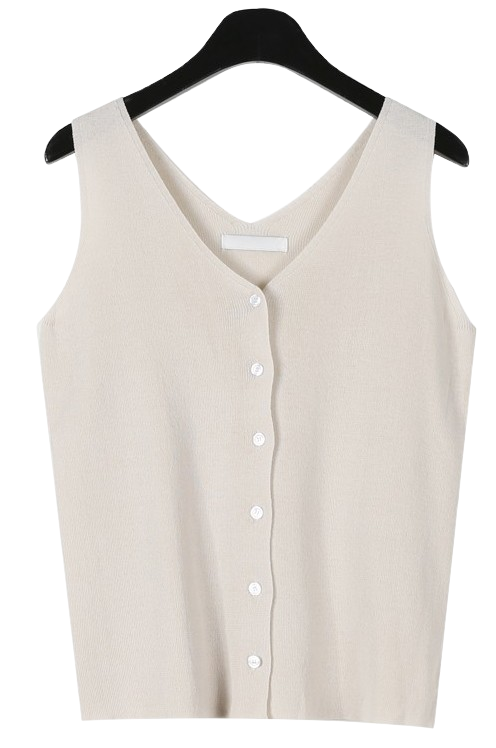 Clear v-neck knit sleeveless
