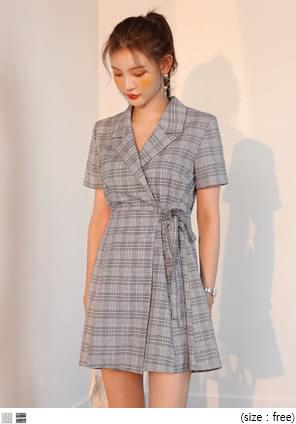 LINEN COLLAR WRAP CHECK MINI OPSWITH CELEBRITY