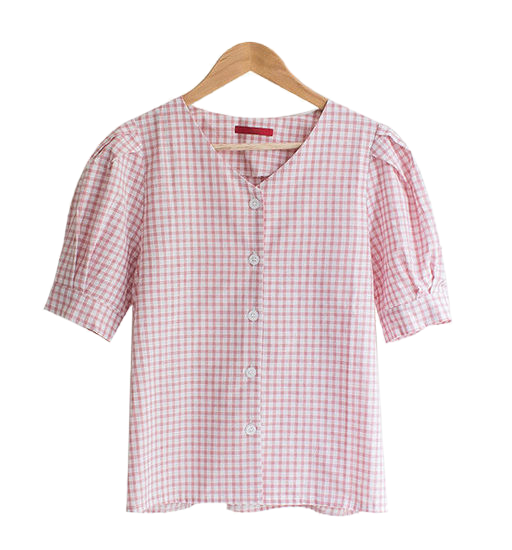 Puff sleeve button check shirt