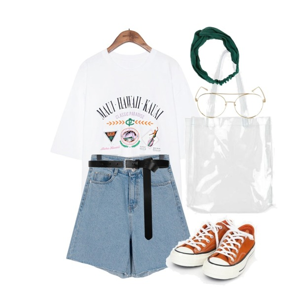 AIN coloring canvas sneakers (225-250),From Beginning Loy denim cutting shorts_K (size : S,M,L,XL),common unique [TOP] HAWAII PRINTING BOXY 1/2 T등을 매치한 코디