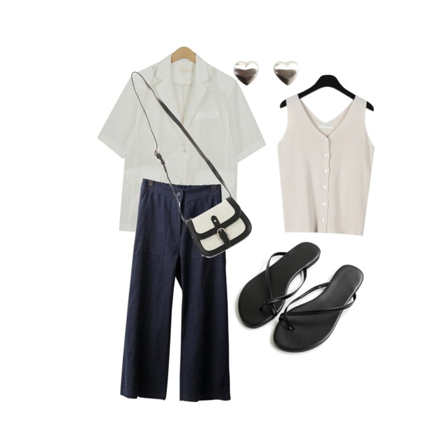 OBBANG STYLE 에넌 린넨바지,daily monday Clear v-neck knit sleeveless,From Beginning Amy linen boxy jacket_K (size : free)등을 매치한 코디