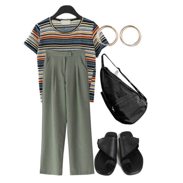 From Beginning Simple medium earring_H (size : one),AFTERMONDAY tropical stripe T-shirt (2colors),BANHARU 1/2 days pants #107등을 매치한 코디