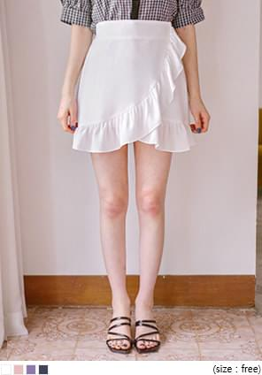 GLOSSY FRILL BANDING PANTS SKIRTWITH CELEBRITY _ IU wear