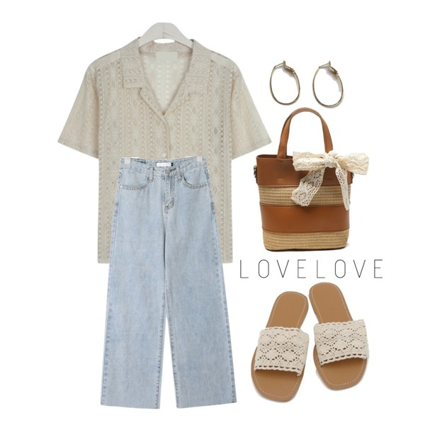 daily monday Lace punching slipper,GIRLS RULE 레이스 오픈 셔츠 (nb643),AIN wing straight denim pants (s, m, l)등을 매치한 코디