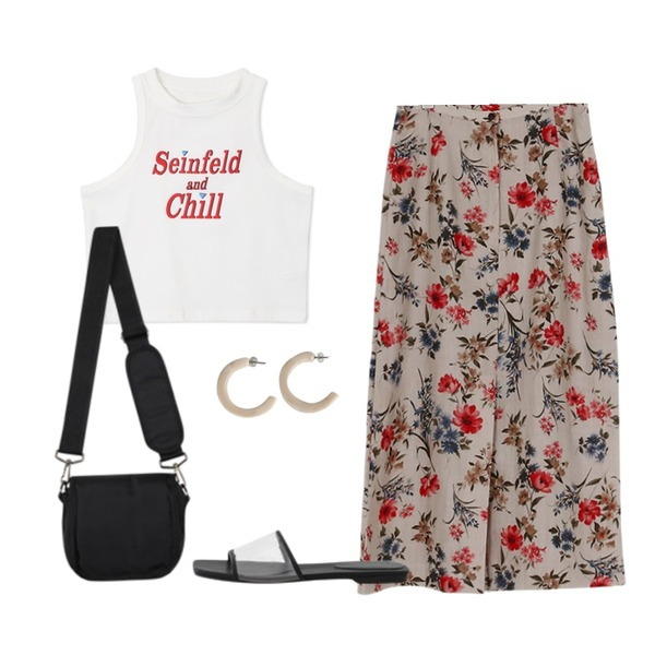 somedayif antique flower skirt (2colors),openthedoor canvas mini cross bag,openthedoor seinfeld crop sleeveless (4 color)등을 매치한 코디
