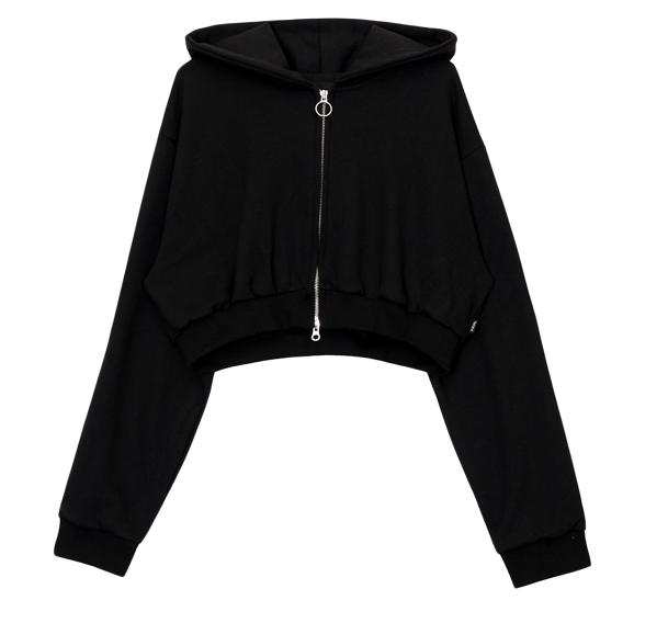 crop hood zip-up