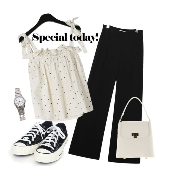 AIN coloring canvas sneakers (225-250),daily monday Sweet dot ribbon sleeveless,common unique [BOTTOM] FLOWING WIDE PINTUCK SLACKS등을 매치한 코디