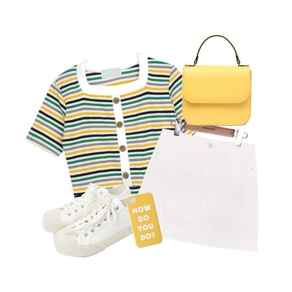 daily monday Simple every day sneakers,common unique [SKIRT] LOVER SIDE SLIT MINI PANTS SKIRT,GIRLS RULE 단가라 스퀘어 버튼 반팔티 (t5132)등을 매치한 코디