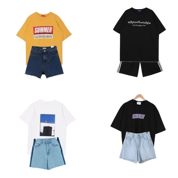 MIXXMIX 썸머 박시 티셔츠,openthedoor nostalgia 1/2 T (2 color) - UNISEX,openthedoor piping string  half pants (5 color) - UNISEX등을 매치한 코디