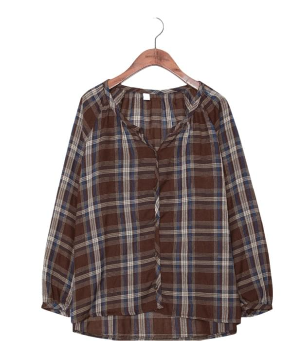 MERRY HENLEY NECK CHECK BLOUSE