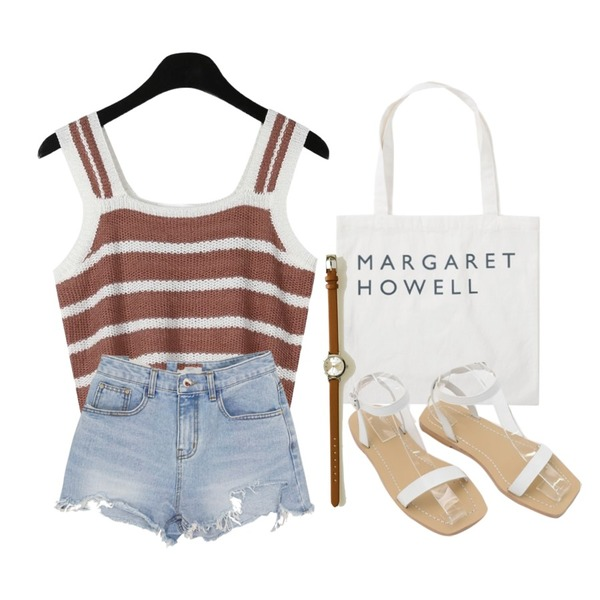 From Beginning Howell lettering eco bag_Y (size : one),MOMORIT 밑단 헤짐 청반바지,daily monday Bold line summer knit sleeveless등을 매치한 코디