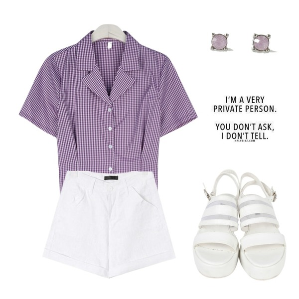 AIN mesh wedge sandal (2 colors),AIN linen roll up half pants (s, m, l),GIRLS RULE 레고 체크 오픈카라 셔츠 (bl617)등을 매치한 코디