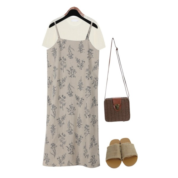 ROCOSIX daily light bag,daily monday Floral printing slip one-piece,common unique [TOP] STELLA PUNCHING ROUND 1/2 KNIT등을 매치한 코디