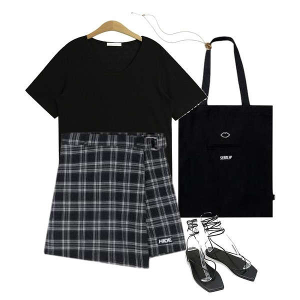 MIXXMIX Connect Eco Bag,MIXXMIX Check Ring Wrap Skirt Pants,TODAY ME 클론 반팔 티등을 매치한 코디