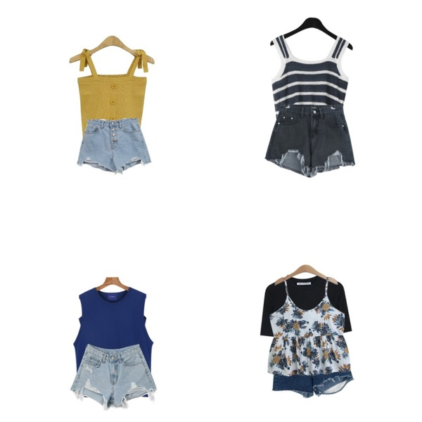 From Beginning Motor damage cutting shorts_M (size : S,M,L),BLINGIT 단추니트끈나시,daily monday Bold line summer knit sleeveless등을 매치한 코디
