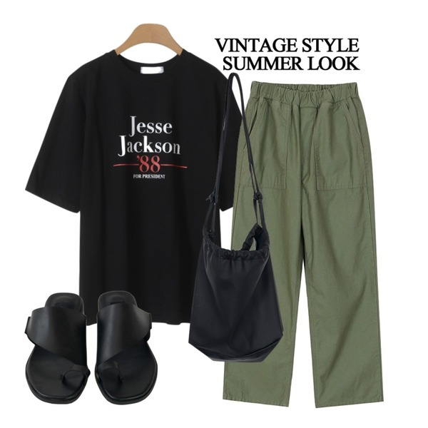 From Beginning Cozy leather string bag_S (size : one),OBBANG STYLE 잭슨 레터링티셔츠,biznshoe Cargo banding pants (2colors)등을 매치한 코디